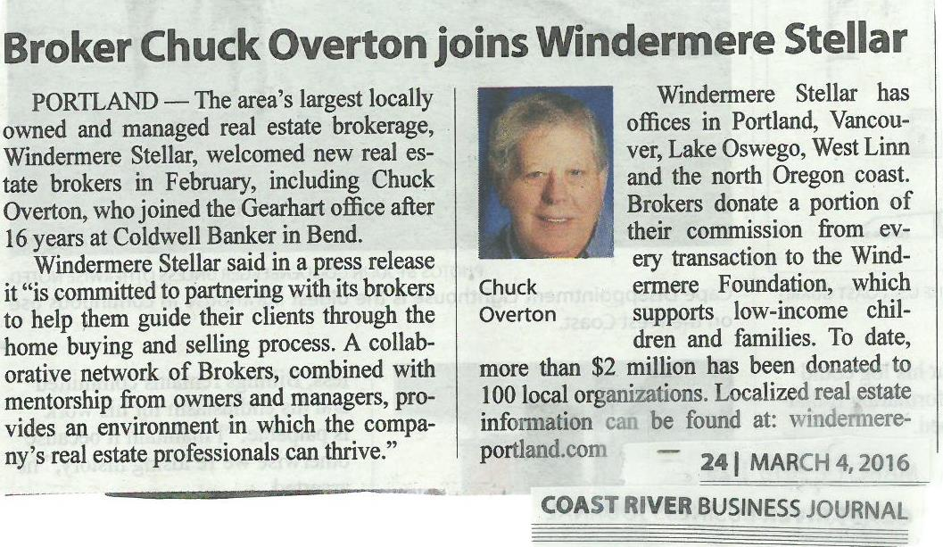 News Release - Welcome Chuck Overton to the Windermere Stellar Family...